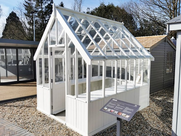 2.4 x 3.0m Greenhouse at Sevenoaks in Exterior Ivory Paint