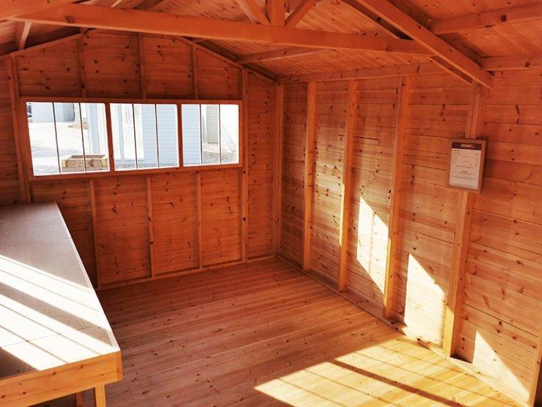 Inside Sevenoaks' 3.0 x 4.8m Superior Shed in Sikkens Grey
