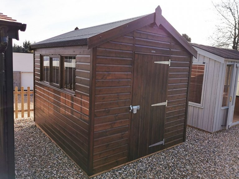 2.4 x 3.0m Superior Shed at Sevenoaks in Sikkens Walnut