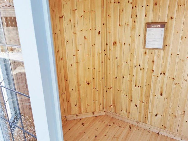 Inside Sevenoaks' 1.8 x 2.5m Wiveton Summerhouse in Exterior Verdigris Paint