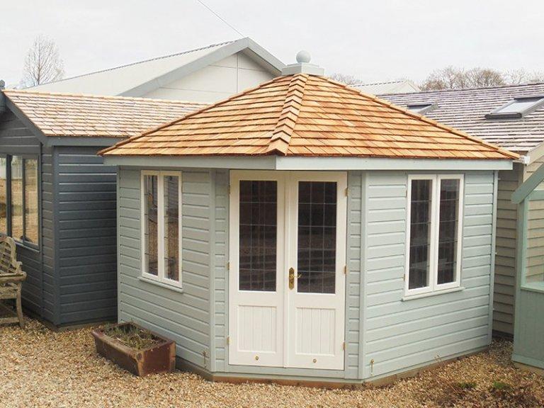 3.0 x 3.0m Weybourne Summerhouse in Verdigris & Ivory at Newbury