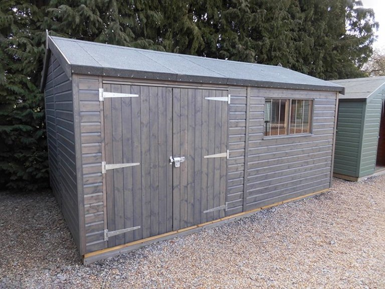 Burford's 3.0 x 4.8m Superior Shed Treated with a Grey Sikkens wood stain