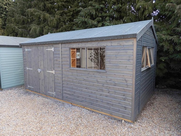 3.0 x 4.8m Superior Shed at Burford Treated with a Grey Sikkens wood stain