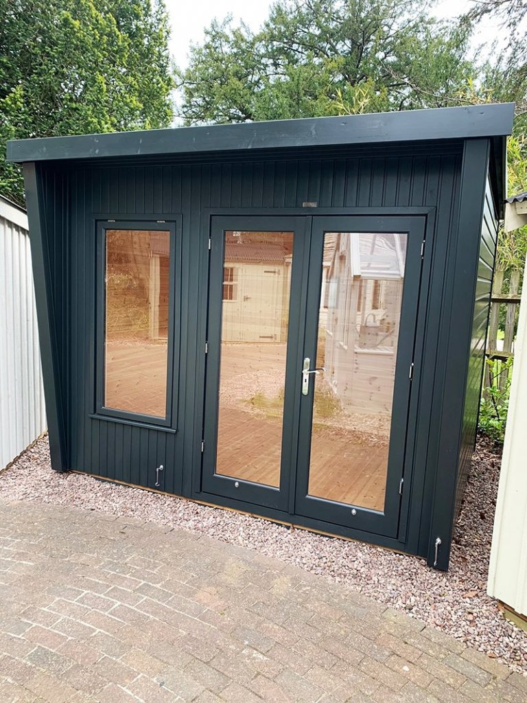 2.4 x 3.0m Classic Office Painted in Classic Coal at Trentham