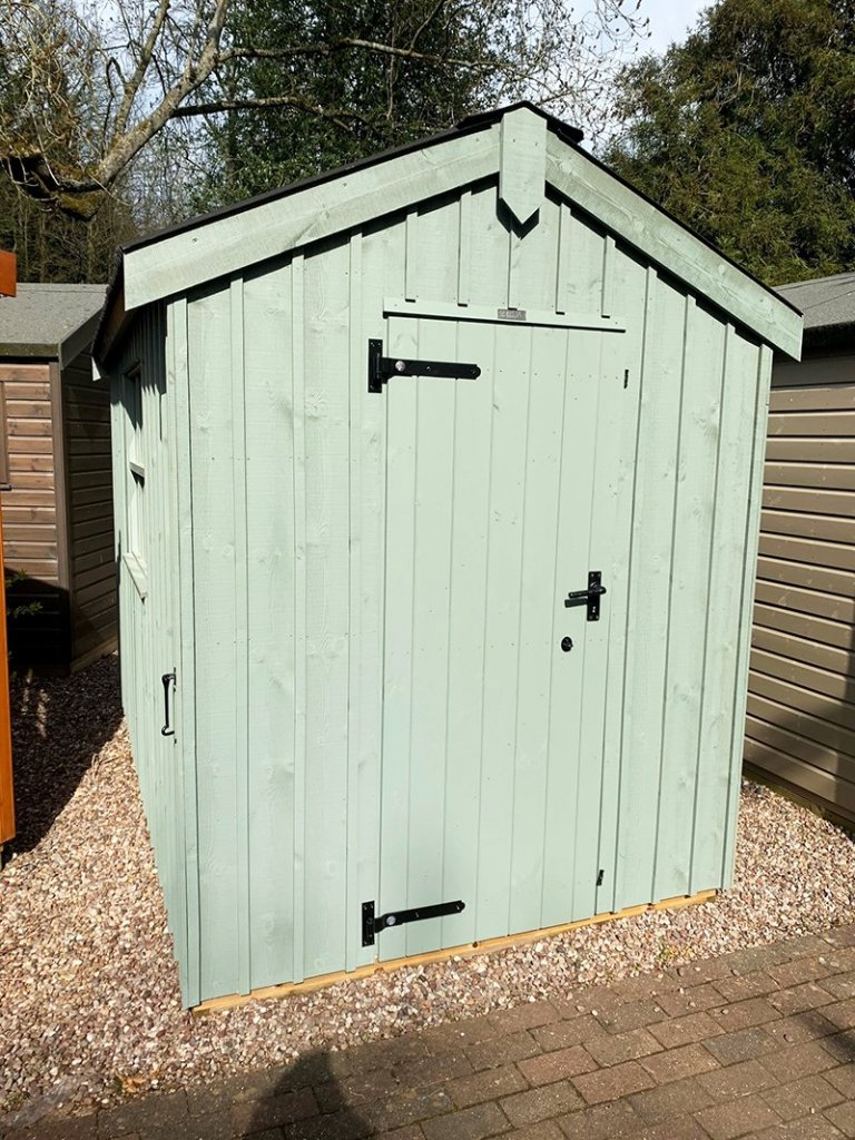 Trentham's 1.8 x 3.0m Peckover National Trust Shed painted in Terrace Green