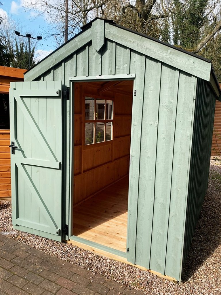 1.8 x 3.0m Peckover National Trust Shed at Trentham painted in Terrace Green