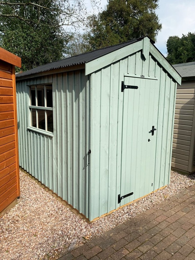 1.8 x 3.0m Peckover National Trust Shed painted in Terrace Green at Trentham
