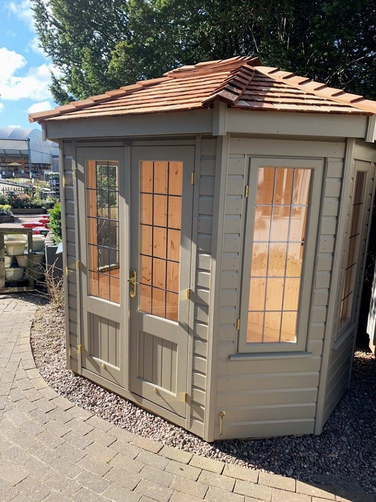 Trentham's 1.8 x 2.5m Wiveton Summerhouse in Exterior Taupe Paint