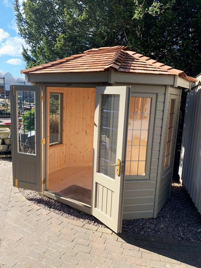 Exterior of Trentham's 1.8 x 2.5m Wiveton Summerhouse in Exterior Taupe Paint