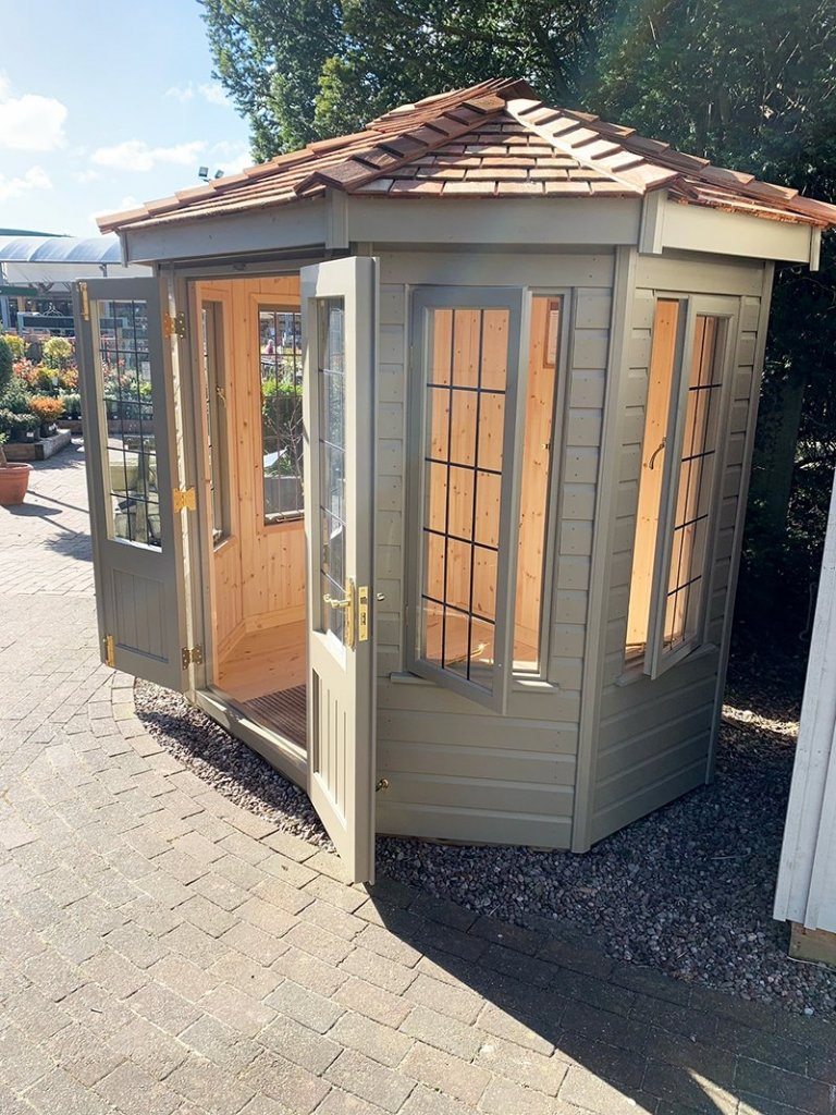1.8 x 2.5m Wiveton Summerhouse at Trentham in Exterior Taupe Paint