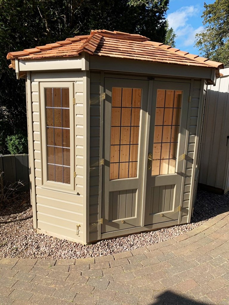 1.8 x 2.5m Wiveton Summerhouse in Exterior Taupe Paint at Trentham