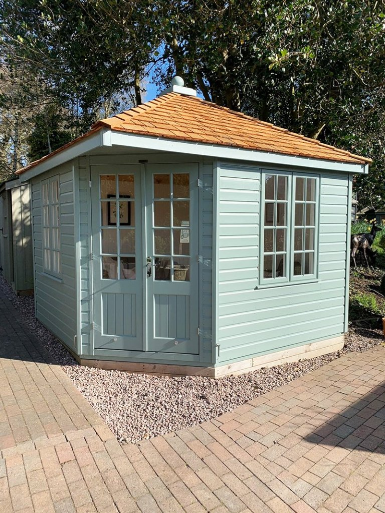 3.0 x 3.0m Weybourne Summerhouse at Trentham in Exterior Sage Paint