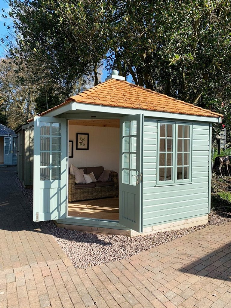 3.0 x 3.0m Weybourne Summerhouse in Exterior Sage Paint at Trentham