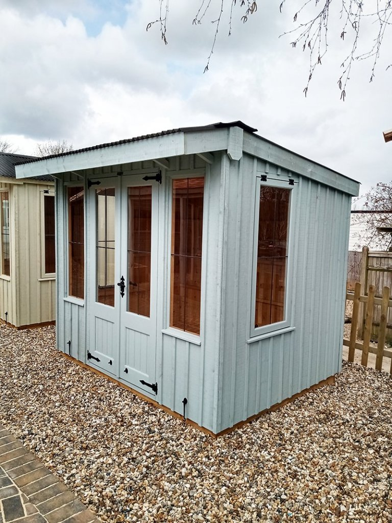 Exterior of Sevenoaks' 1.8 x 2.4m Flatford National Trust Summerhouse in Painters Grey