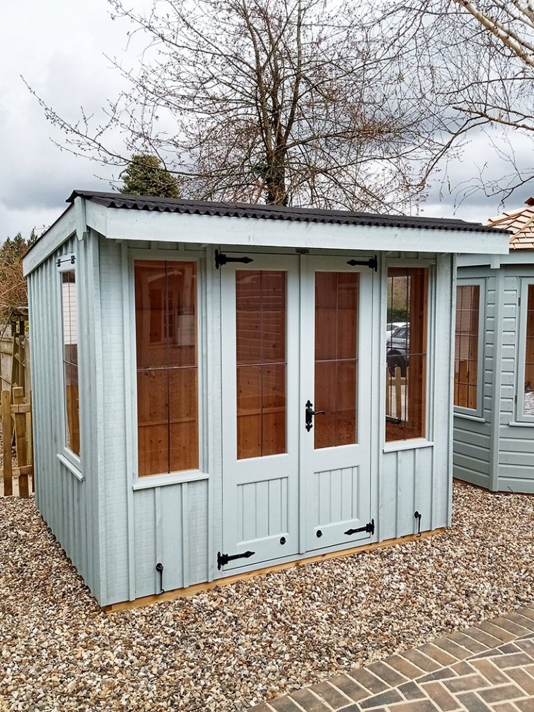1.8 x 2.4m Flatford National Trust Summerhouse at Sevenoaks in Painters Grey