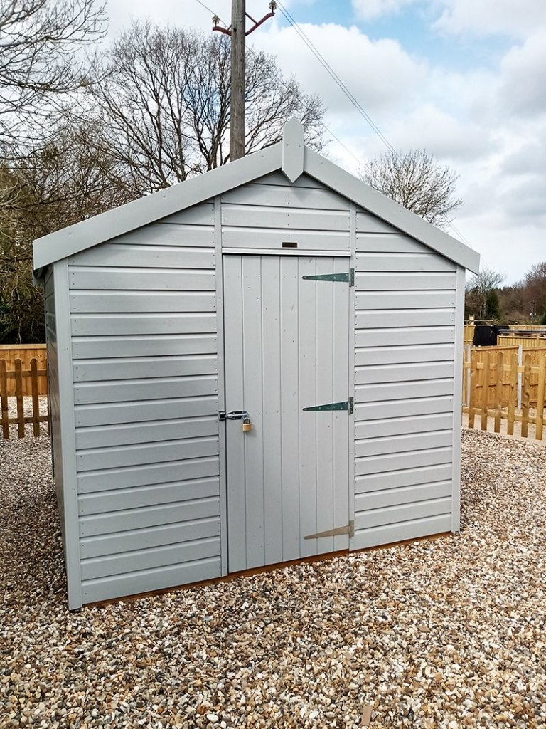 2.4 x 2.4m Classic Shed at Sevenoaks Painted in Classic Smoke