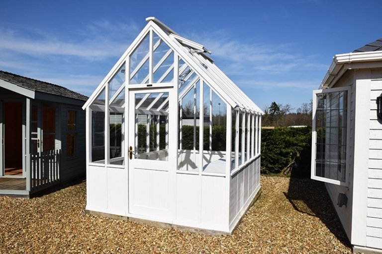 Narford's 2.4 x 3.0m Greenhouse in Exterior Ivory Paint
