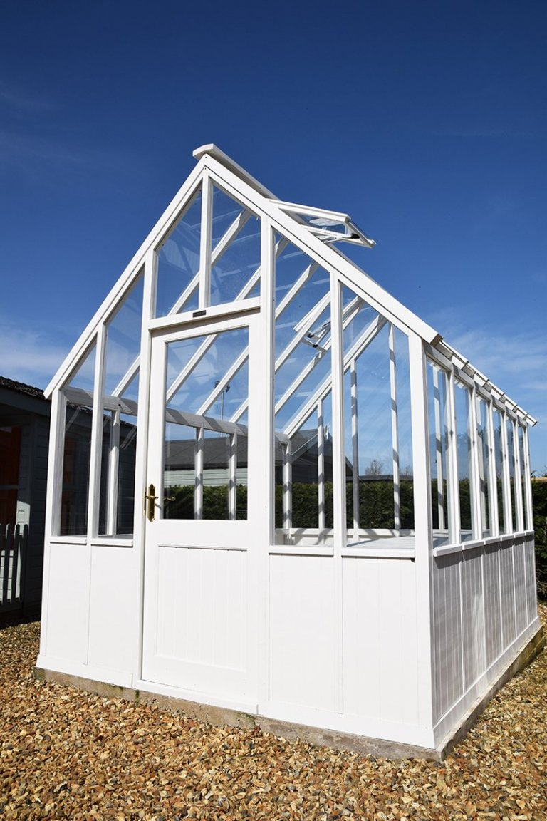 2.4 x 3.0m Greenhouse at Narford in Exterior Ivory Paint