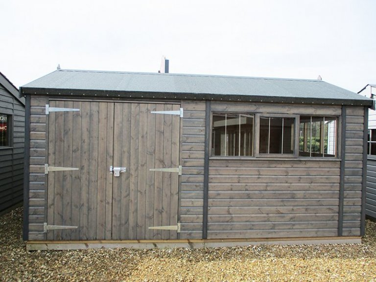 Narford's 3.0 x 4.8m Superior Shed treated with a Grey Sikkens wood stain