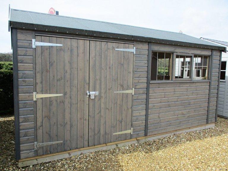 3.0 x 4.8m Superior Shed at Narford treated with a Grey Sikkens wood stain