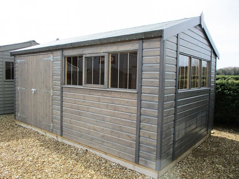 3.0 x 4.8m Superior Shed treated with a Grey Sikkens wood stain at Narford