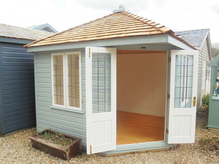 3.0 x 3.0m Weybourne Summerhouse in Exterior Verdigris & Ivory at Newbury with open doors