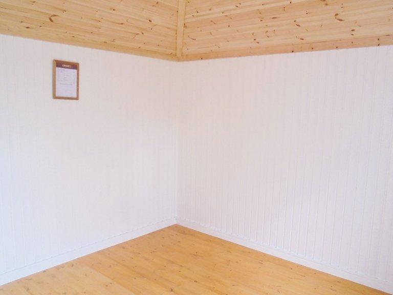 Inside Newbury's 3.0 x 3.0m Weybourne Summerhouse in Exterior Verdigris & Ivory