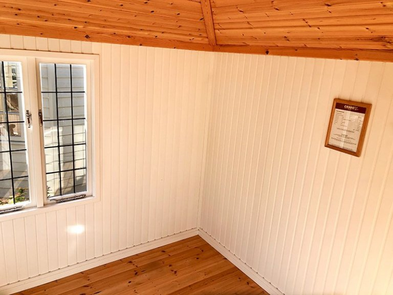 Interior of Cranleigh's 2.4 x 3.0m Cley Summerhouse in Exterior Ash Paint