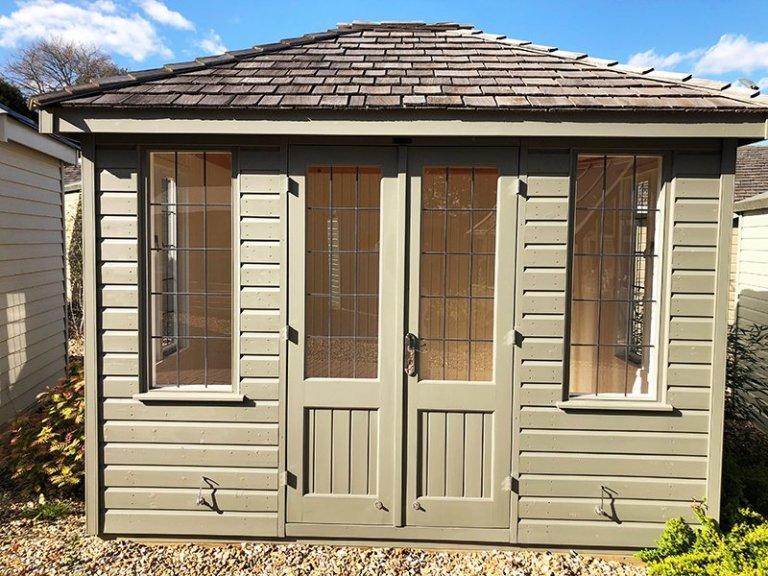 Cranleigh's 2.4 x 3.0m Cley Summerhouse in Exterior Ash Paint