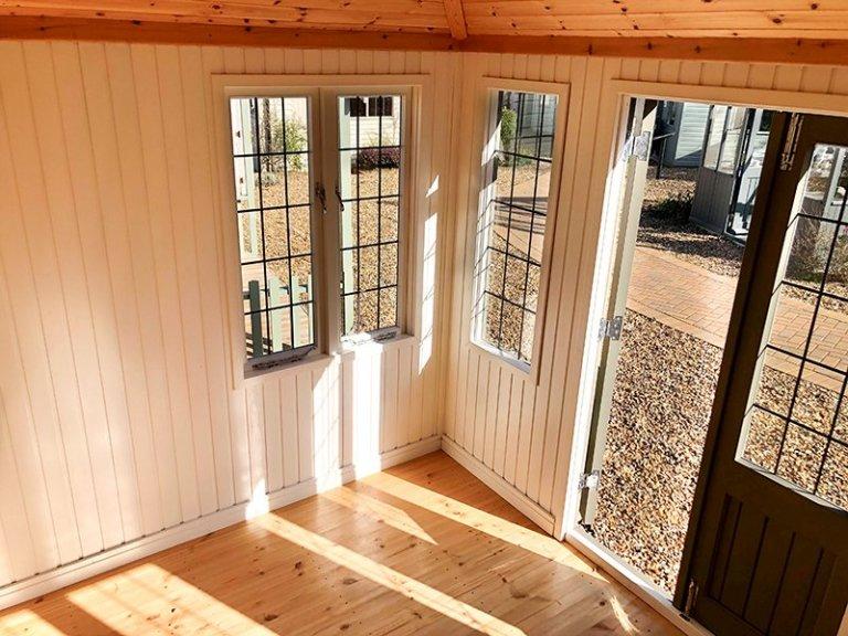 Inside Cranleigh's 2.4 x 3.0m Cley Summerhouse in Exterior Ash Paint