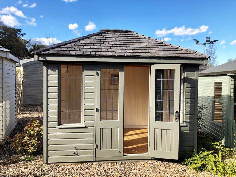 2.4 x 3.0m Cley Summerhouse at Cranleigh in Exterior Ash Paint