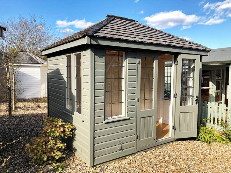 2.4 x 3.0m Cley Summerhouse in Exterior Ash Paint at Cranleigh