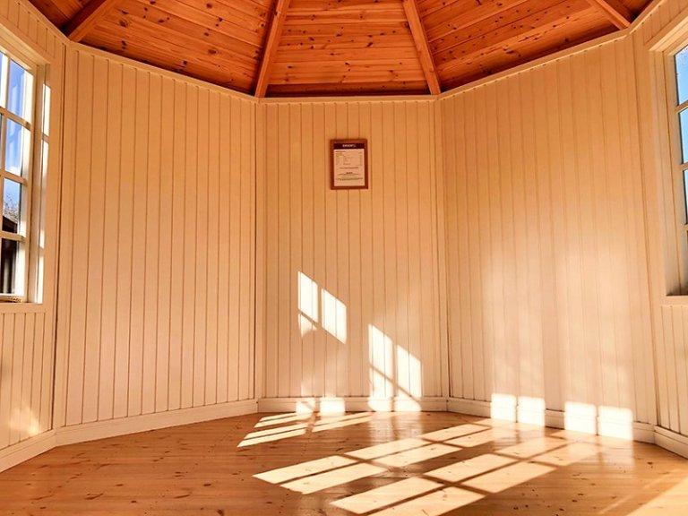 Inside Cranleigh's 3.0 x 3.0m Wiveton Summerhouse in Exterior Lizard Paint