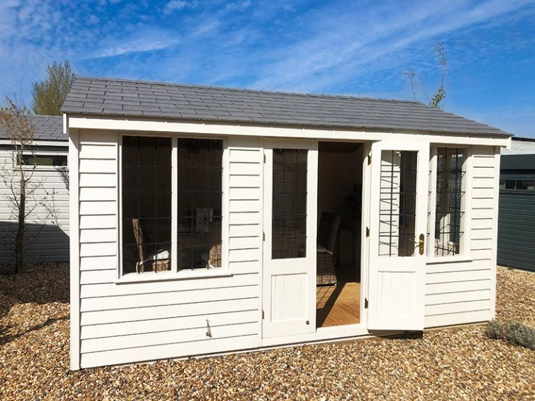 3.0 x 4.2m Holkham Summerhouse at Cranleigh in Exterior Cream Paint