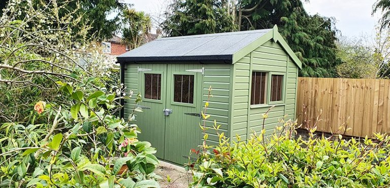 2.4 x 3.0m Superior Shed in Exterior Lichen Paint with Apex Roof Design and Security Pack