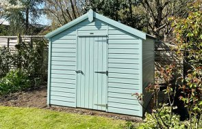 2.4 x 2.4m Classic Shed painted in Seagrass with Apex Roof