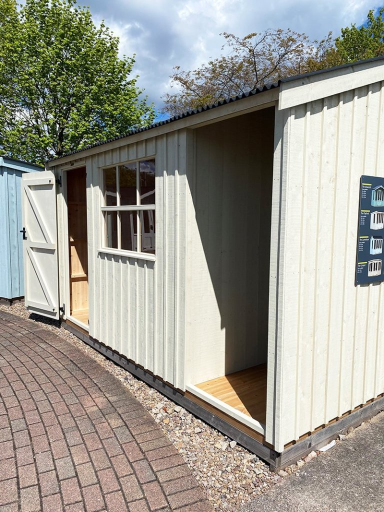 2.4 x 3.6m Blickling National Trust Shed at Nottingham painted in Dome Ochre