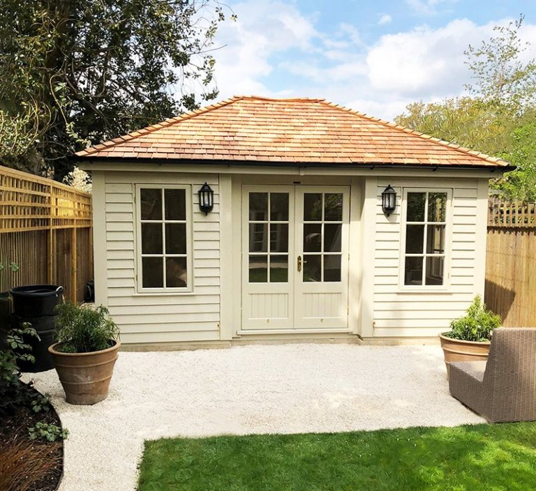 3.6 x 4.8m Garden Room painted in Farrow & Ball Old White with Georgian Windows and Inset Door