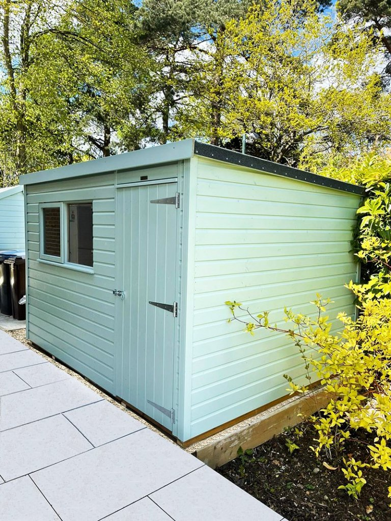 2.4 x 3.0m Classic Shed in Seagrass with Pent Roof Design