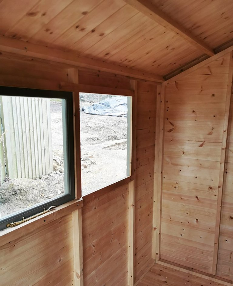 Inside Tunbridge Wells' 1.8 x 2.4m Classic Shed painted in Stone