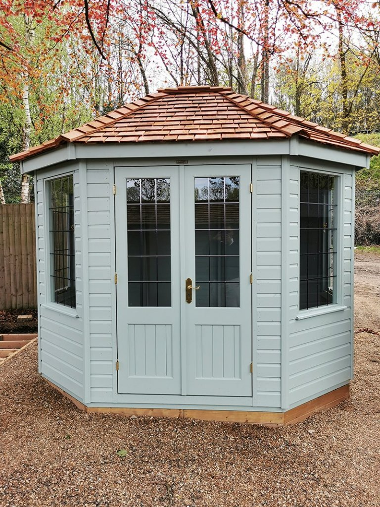 2.4 x 3.0m Classic Summerhouse painted inside and out with Seagrass
