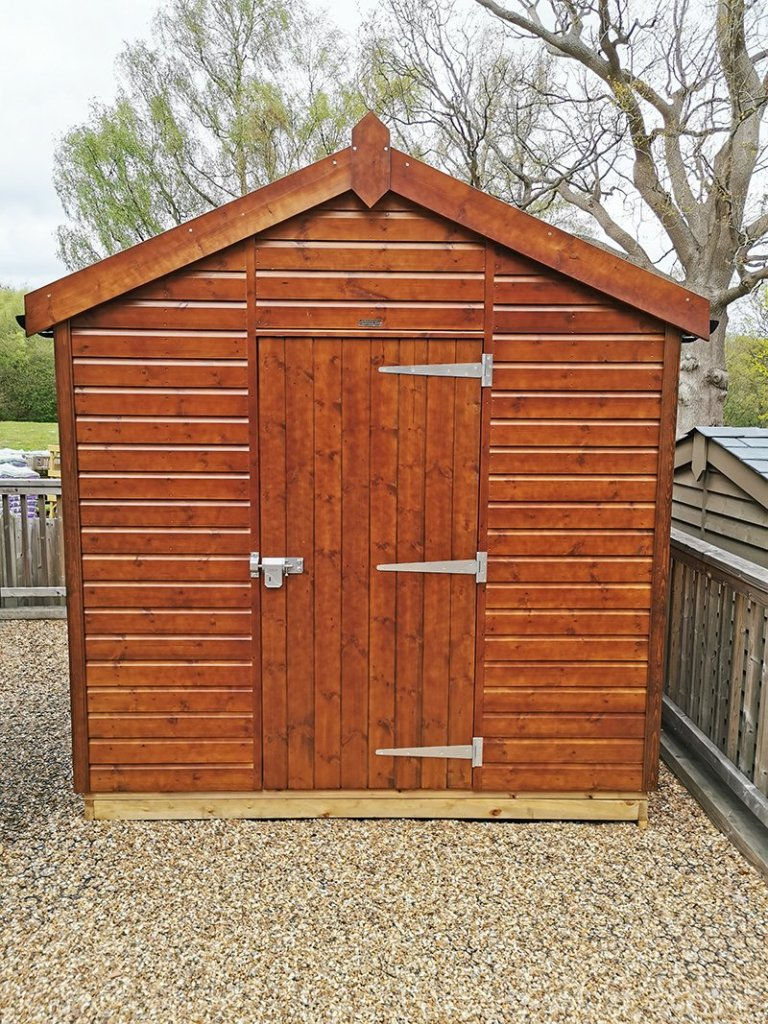 2.4 x 3.0m Superior Shed at Tunbridge Wells in Sikkens Walnut