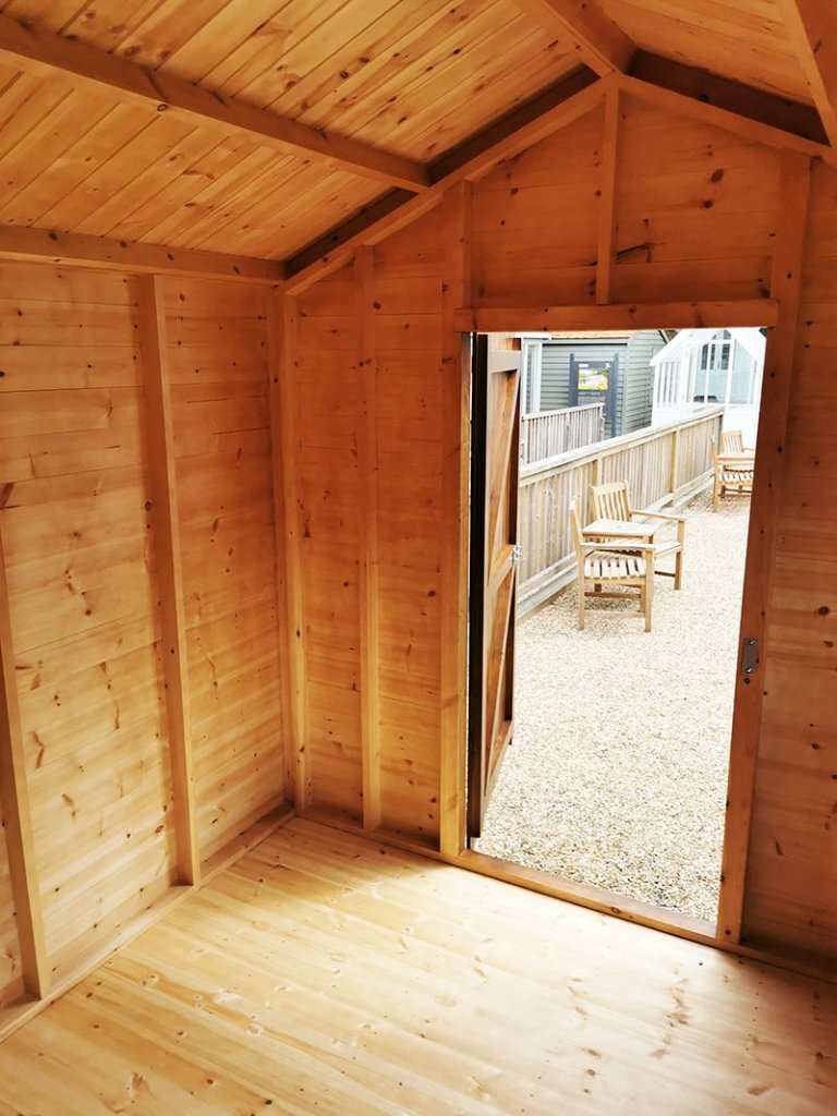 Unlined 2.4 x 3.0m Superior Shed in Sikkens Walnut
