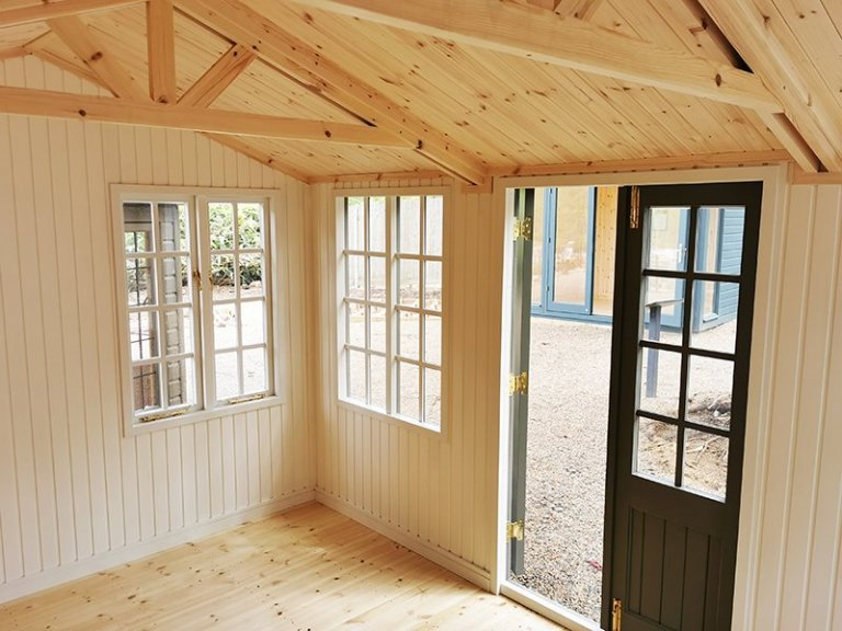 Inside Tunbridge Wells' 3.0 x 4.2m Holkham Summerhouse in Exterior Ash Paint