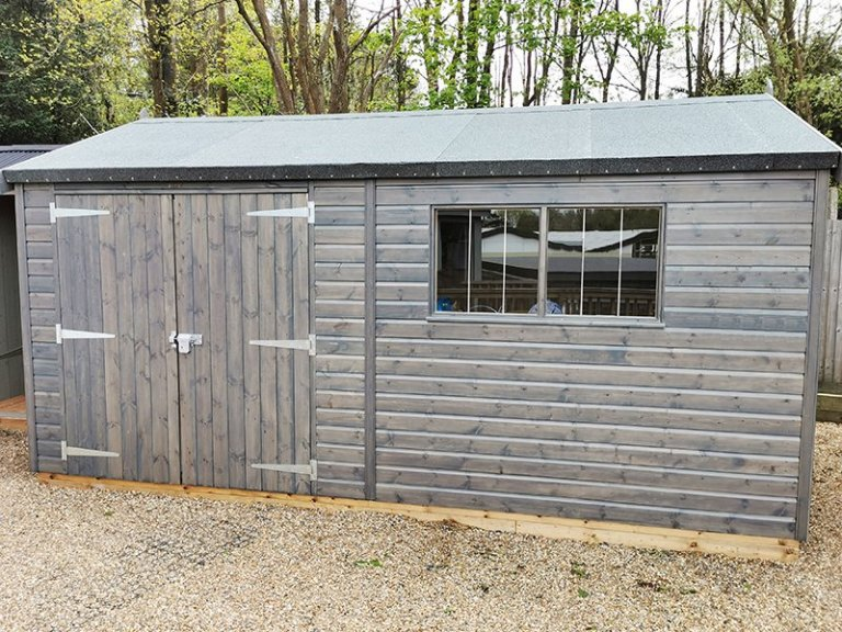 Tunbridge Wells' 3.0 x 4.8m Superior Shed painted in Sikkens Grey