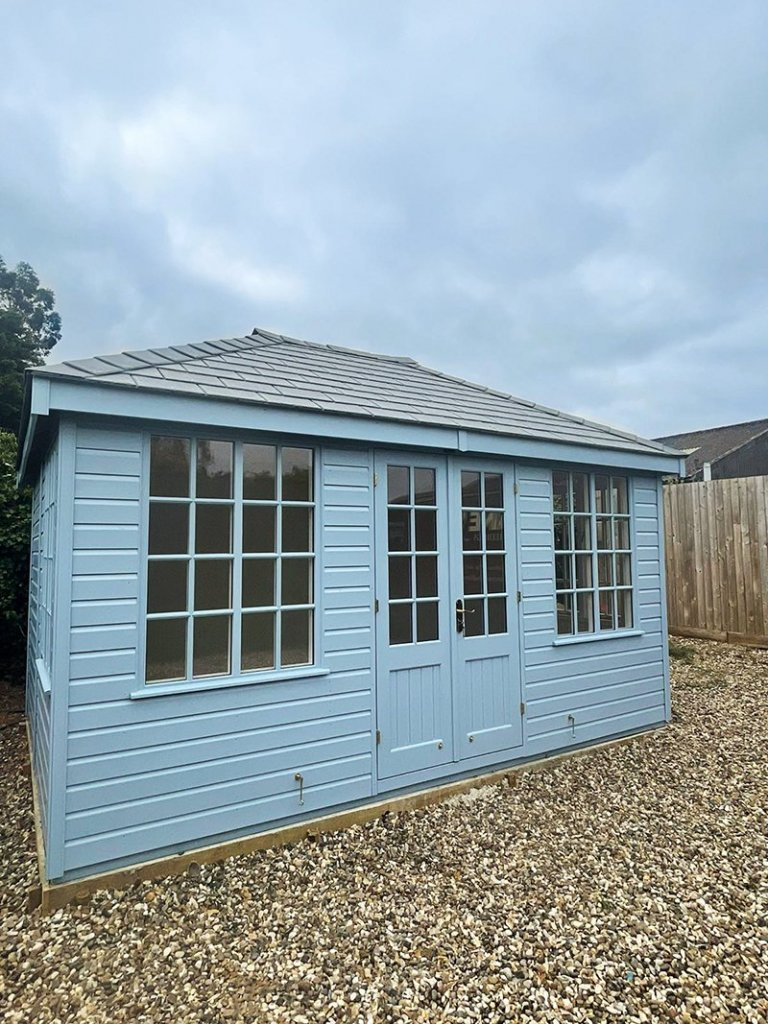3.0 x 4.2m Cley Summerhouse in Exterior Sundrenched Blue with Georgian Windows