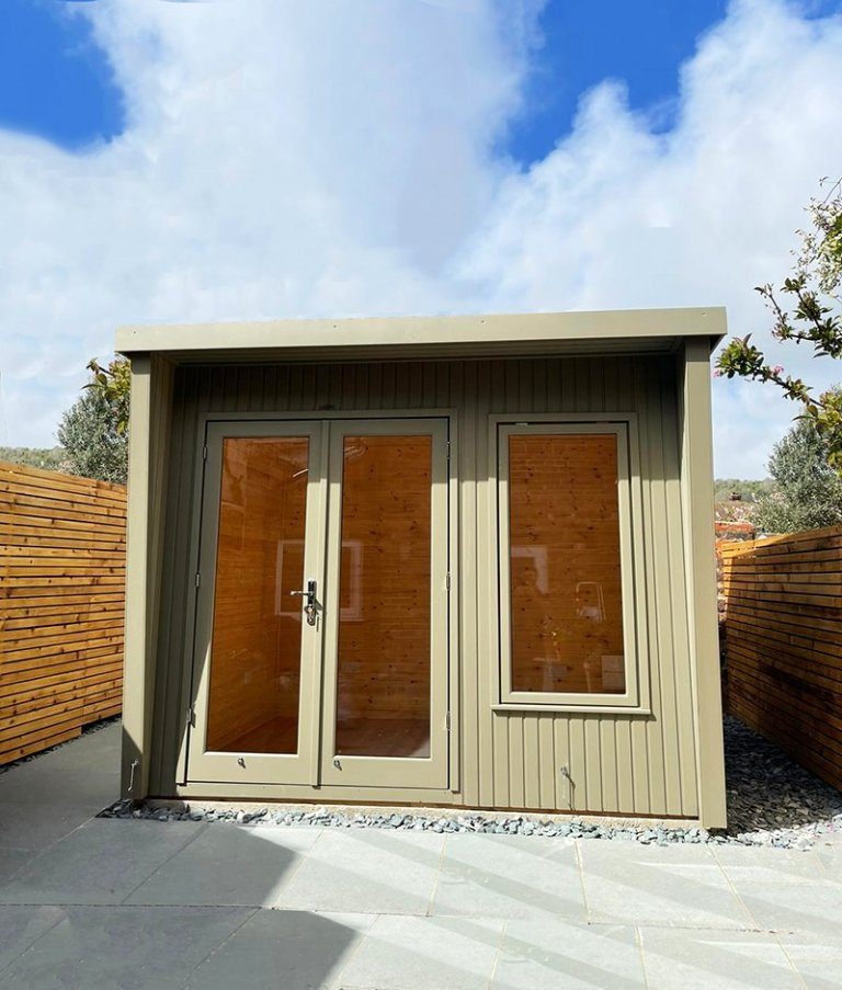2.4 x 3.0m Classic Office painted in Classic Stone with stylish pent roof design