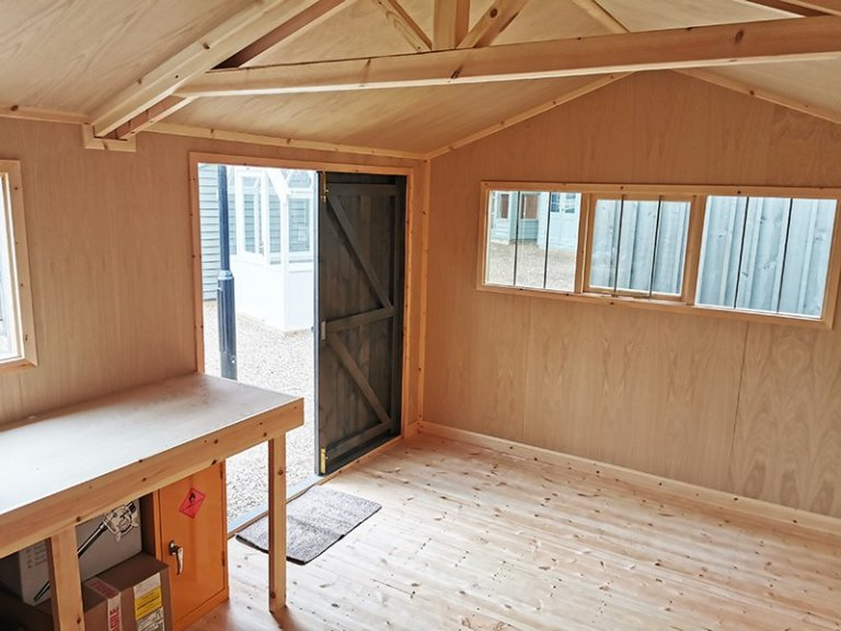 Inside Tunbridge Wells' 3.0 x 4.8m Superior Shed in Sikkens Grey