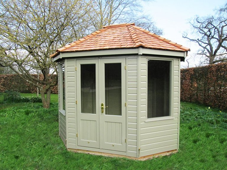 2.4 x 3.0m Classic Summerhouse painted inside and out with Stone with cedar shingles on the roof