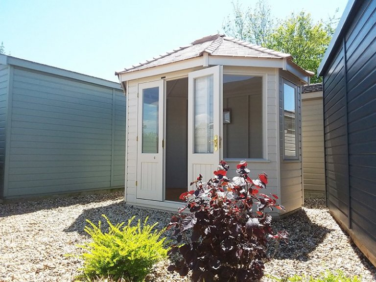 2.4 x 3.0m Classic Summerhouse at Brighton painted inside and out in Cotton